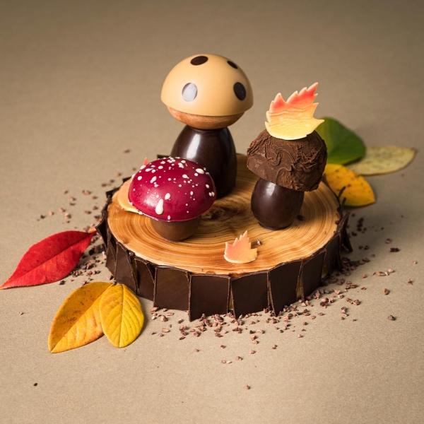 pièce en chocolat sujet en chocolat automne chocolat au lait noir dolce laurent le daniel mof meilleur ouvrier de France artisans chocolatiers rennais pâtisserie à rennes ille et vilaine bretagne relais desserts