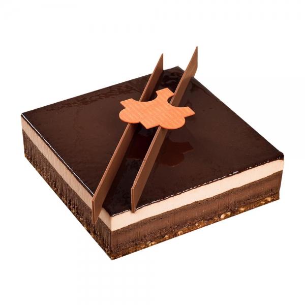 puzzle dessert entremets gâteau patisserie au chocolat mousse au chocolat au lait caramel chocolat gingembre cannelle noisette dessert original au chocolat maison le daniel patisserie le daniel laurent le daniel mof meilleur ouvrier de france patisserie à rennes ille et vilaine bretagne