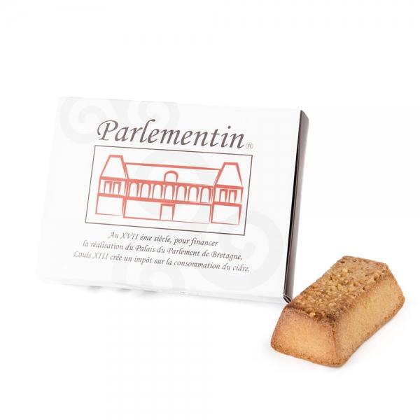 coffret parlementins pâtisserie moelleuse bretonne rennes rennaise traditionnelle typique pommes reinettes d'Arlorique au cidre biscuit moelleux amandes tuile de nougatine idée cadeau originale spécialité locale de rennes à tester pâtisseries pâtisserie à rennes ille et vilaine bretagne bretonne breizh