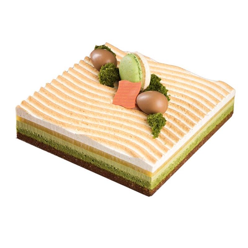 jardin zen entremets gâteau dessert aux fruits vanille thé vert agrumes praliné sésame dessert maison le daniel laurent le daniel meilleur ouvrier de france mof p$atisserie à rennes ille et vilaine bretagne