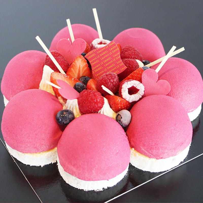 entremet fête des mères fruits rouges framboise crème chocolat blanc